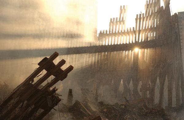 Ground Zero at dusk, 16 September 2001