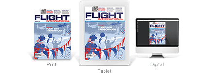 The three Flight International products (print, tablet and digital) shown as a magazine cover, front of an iPad and computer screen.