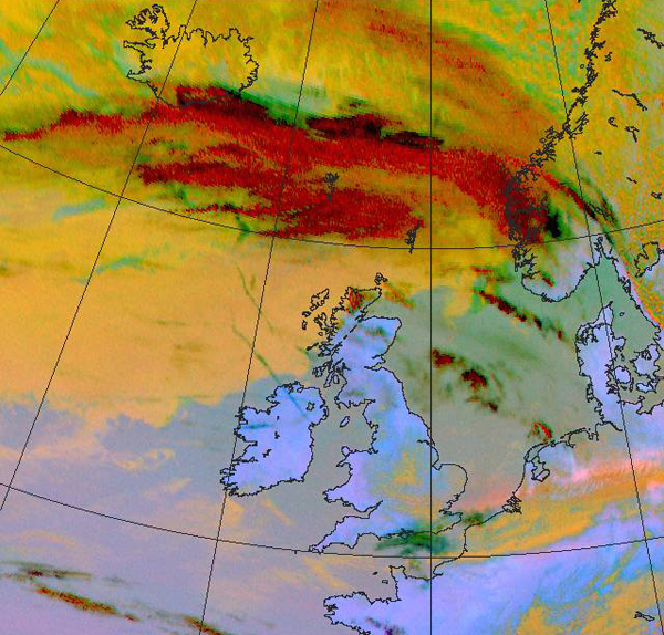 Satellite image of the ash cloud